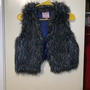 Faux fur royal blue vest